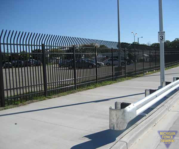 Ameristar Steel Security Fence With a Guardrail