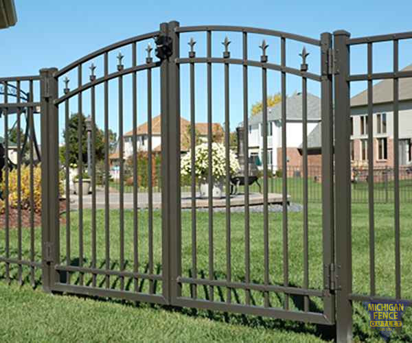 Black Aluminium Fence With A Gate